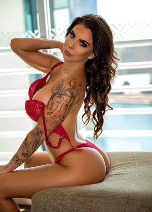 tattooed girl red lingerie